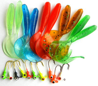 Wholesale fishing lure kits online - soft bait small lead head hook lure With fishing tackle bag Worm Fishing Lure Grub Fishing Lures Tube Kits