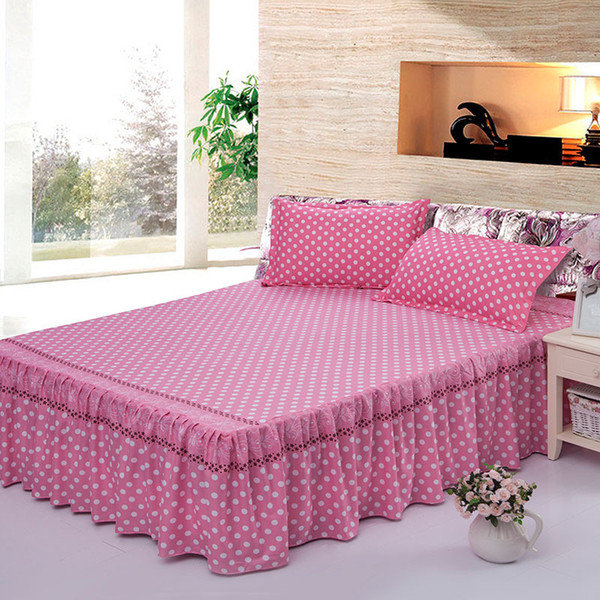 Pink Dots Printed Bedclothes Bedspread Cotton Bed Skirts Coverlet  Counterpane Bed Sheets, Twin Queen Full