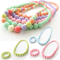 Wholesale candy necklace beads - Children's Acryl Necklace & Bracelet Sets Candy Color Beads Girl's Jewelry Set Kids Ornaments Accessories Set