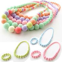 Wholesale Candy Color Bead Necklaces - Children's Acryl Necklace & Bracelet Sets Candy Color Beads Girl's Jewelry Set Kids Ornaments Accessories Set