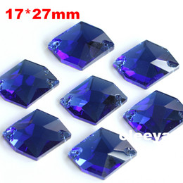 Brand Quilt Canada - 72pcs 17*27mm Cosmic Shape Flatback Sew on Rhinestones Sapphire 2 holes Sewing Crystal beads Oleeya Brand