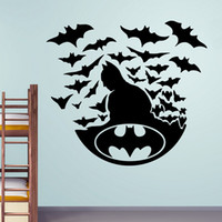 Wholesale People Heroes - Creative Bat Hero with Bats Vinyl Cartoon Wall Decals Kids Room Decor Wall Art Stickers