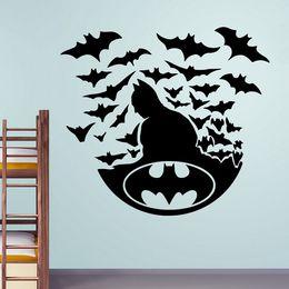 Wholesale Movie Stickers - Creative Bat Hero with Bats Vinyl Cartoon Wall Decals Kids Room Decor Wall Art Stickers