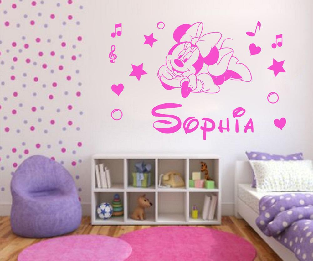 personalised minnie mouse vinyl wall decal kids wall sticker art see larger image