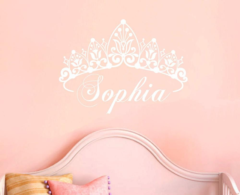 Personalised Princess Crown Wall Sticker Custom-made Any Name Decal Decoration Kids Room Home Decor