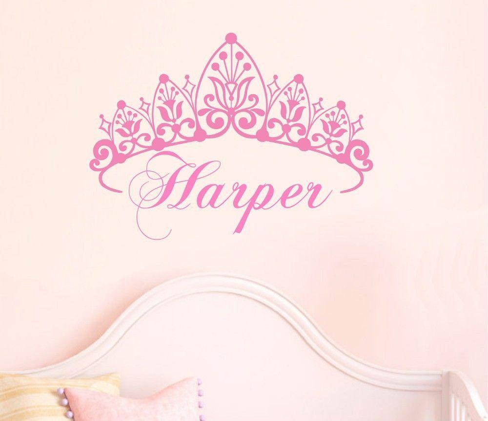 Custom Personalised Name Princess Crown Stars Wall Art Sticker Girls Kids Decal