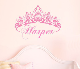Wholesale Crowns For Decor - Personalised Princess Crown Wall Sticker Custom-made Any Name Decal Decoration Kids Room Home Decor