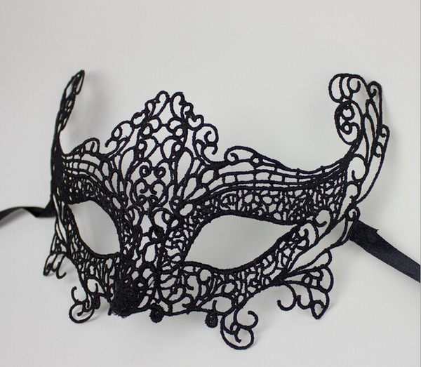 New Fashion Sexy Lace Veil Halloween Masquerade Dance Mask Face Mask Black Cutout Party Masks Drop Shipping HG-Party-00805