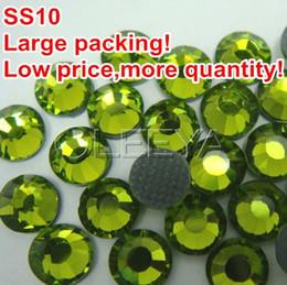2019 diseños de transferencia de diamantes de imitación Envío Gratis ss10 Color Verde Oliva Embalaje Grande 500 Grados / bolsa DMC Hot Fix FlatBack Diseños de Transferencia Rhinestone Beads Vestido de Novia rebajas diseños de transferencia de diamantes de imitación