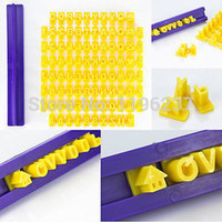 Wholesale Stamped Letters Numbers - 1set 92 Alphabet Number Letter Cookie Cutters Fondant Impress Biscuit Stamp Embosser Cake Decorating Tools