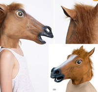 Wholesale Horror Halloween Props - 2017 Creepy Horse Mask Head Halloween Costume Theater Prop Novelty Latex Rubber Christmas gift