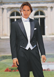 Wholesale Double Breasted Vest Tuxedo - Groom Tuxedos Black Tailcoat Groomsmen Peak Lapel Best Man Mens Wedding Suits Bridegroom (Jacket+Pants+Vest+Tie) NO:163