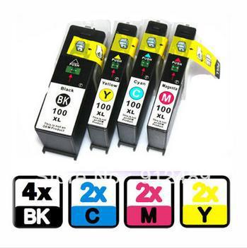 10pk чернила совместимы для Лексмарк 100xl 105xl 108xl Genesis S815 S816 четыре цвета чернил картриджа с чипом высокого качества Bulk Ink
