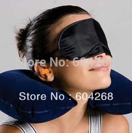 Pillow Mask NZ - New Candy Travel Flight Pillow Neck U Rest Air Cushion+ Eye Mask + Earbuds 2Sets Lot Free Shipping