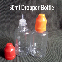 Bottle For Eye Drops Canada - 1600Pcs PET 30ml Eliquid Bottles for Eye Drops Essential Oil With Childproof Caps And Tips, Plastic Dropper Bottles E Cig Bottles Fedex Free