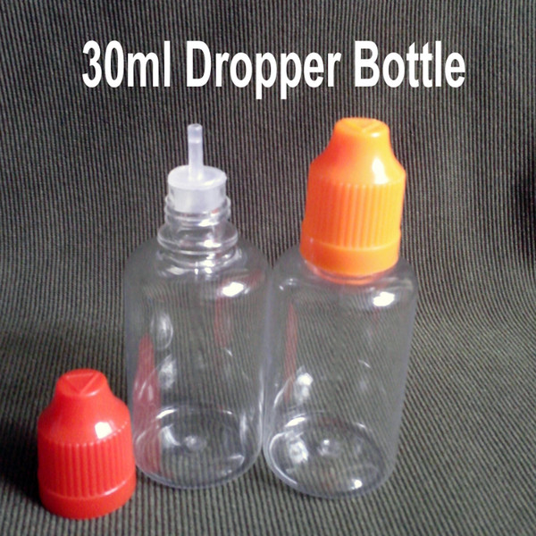 1600Pcs PET 30ml Eliquid Bottles for Eye Drops Essential Oil With Childproof Caps And Tips, Plastic Dropper Bottles E Cig Bottles Fedex Free