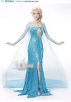 Wholesale Girl Dress Preorder - 2014 Preorder Children Girl Dress Princess Ice Queen Cosplay Child Kid Girl Cartoon Dresses Sparkling Long Sleeve Dressy D2598