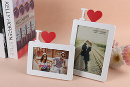Frames Favors Canada - Creative Heart Design Wooden Photo Frame White 4x6 5x7 Wood Picture Frame Wedding Favors Valentine's Gift Wall Decals Tabeltop Display