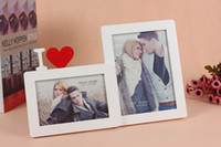 Wholesale Desk Picture Frames - Creative 2 Pictures Wooden Combined Photo Frame White Heart Design Wood Picture Frames Wall Decal Desk Display Wedding Favors