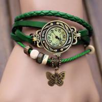 Wholesale Vintage Divers - Wholesale-2016 New Arrivals High Quality Women Genuine Leather Vintage Watch,bracelet Wristwatches For Women 19255#718