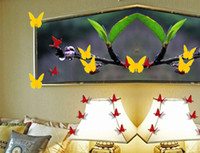 ingrosso adesivi gialli della farfalla-Wall Sticker Nuovo giallo farfalla farfalla 3D Home Decor Camera Tatuaggi autoadesivi di piccola dimensione all'ingrosso di trasporto