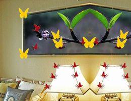 Argentina Wall Nuevo amarillo de la mariposa de la mariposa 3D Etiqueta Decoración del hogar Decoración del salón Calcomanías tamaño pequeño al por mayor Envío gratuito cheap yellow butterfly wall stickers Suministro