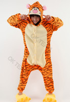 Wholesale Adult Tiger Pajamas - High quality Cosplay Costumes Garment Cartoon Tiger Onesies Suits Unisex Adult Flannel Pajamas Wholesale Retail Free Shipping
