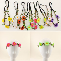 Wholesale Sunflower Headbands - Bohemian Headband for Women Flowers Braided Leather Elastic Headwrap sunflower hair band Assorted Colors Hair Ornaments