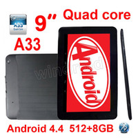 "Wholesale android mid - 9 inch 9"" Allwinner A33 Quad Core 1.5Ghz Android 4.4 kitkat Tablet PC MID 512MB 8GB Dual camera Bluetooth BT Wifi Colorful Free DHL 5pcs A23"