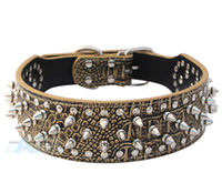 Wholesale Cheap Spike Collars - Wholesale-Colorful Cheap 100% Guarantee Spiked Studded PU Leather Dog Collars PitBull Mastiff P62-ZG