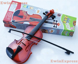 Wholesale Wholesaler For Music Instruments - 2x Hot Good Red Brown Simulation Violin Earlier Childhood Music Instrument Toy for Children Kids Free Shipping