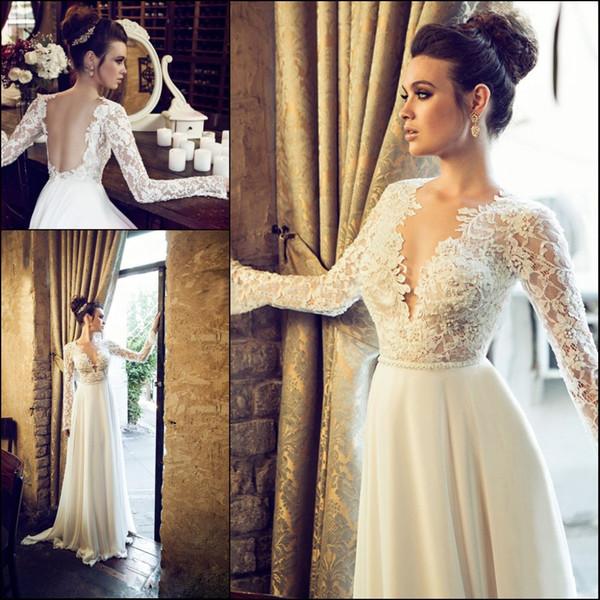 top popular Romantic Vintage Lace Chiffon Beach Wedding Dresses Bridal Gown Long Sleeve V-Neck Backless Pearls Court Train Sheath Custom Made W401 2019