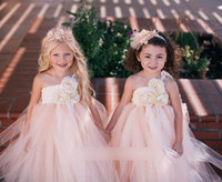 Wholesale Champagne Party Bubbles - Wedding Dress Summer Suspenders Flower Bubble Tutu Tulle Lace Girls Dresses Sweet Dream Children Girls Dresses Party Formal Dressy J1737