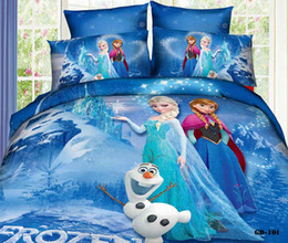 Wholesale Duvet Cover Princess - Frozen 3D Cartoon Kids Bedding Sets Elsa Anna Princess 100% Cotton Bed In A Bag 4Pcs Duvet Covers Flat Sheet Pillow Cases