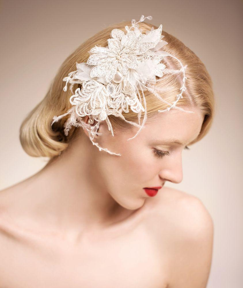 stunning bridal accessories vintage pearls feather hair
