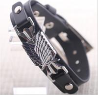 Wholesale Attack Giants - New statement Shingeki no Kyojin  Attack On Titan Giant bracelet leather bracelets for man anime jewelry