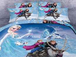 Wholesale Cheap Cartoon Bedding - 3D Cartoon Kid Bedding Sets Princess Anna Olaf Frozen Home Textiles Duvet Covers Flat Sheet Pillow Cases 100% Cotton Cheap Bed In A Bag