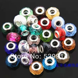 Wholesale Colorful Round Wholesale Beads - 9*14MM Mixed Colorful Crystal Big Hole Loose Beads 50pcs lot Fit European Jewelry Braclet Charms DIY