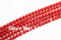 kırmızı yarı değerli boncuklar toptan satış-Yarı Kıymetli Taş Sınıf Bir Mercan 3mm 4mm 5mm 6mm 8mm 10mm Kırmızı Mercan Yuvarlak Boncuk 15.5