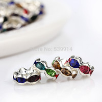 Wholesale MM Metal Silver Plated Crystal Rhinestone Rondelle Spacers Beads Fit Beads Jewelry Findings