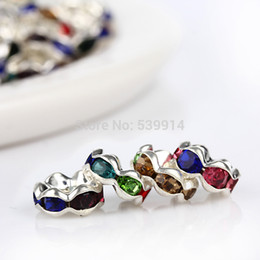 gold rhinestone bead spacers NZ - Free Shipping 8MM 200Pcs Metal Silver Plated Crystal Rhinestone Rondelle Spacers Beads ,Fit Beads Jewelry Findings