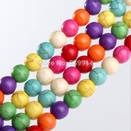 Wholesale 4mm Turquoise Round Beads - Free shipping Natrual Mixed Color Turquoise 4MM 6MM 8MM 10MM 12MM Round Stone Beads Loose Strand. Natural Stone Jewelry Beads