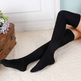 Wholesale Thigh Socks For Women - Solid Colors Fashion Sexy Warm Thigh High Over the Knee Socks Long Cotton Stockings For Girls Ladies Women