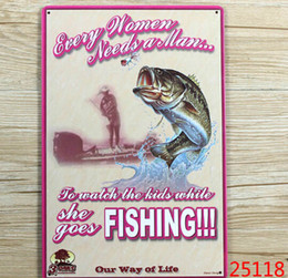 Wholesale 2014 fashion cm Go Fishing Hunter season notice slogan reminders Tin Sign outdoor Wall Art decoration Bar Metal Paintings