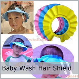 Wholesale Safe Shampoo Shower Cap - 15 x Safe Shampoo Shower Bathing Protect Soft Cap Shower Baby Hats Hat for Baby Children Kids