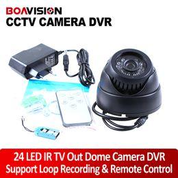 Wholesale Dome Color Cctv - 24 LED IR Color CMOS Loop Recording CCTV Security Dome Camera TV Out Remote Control
