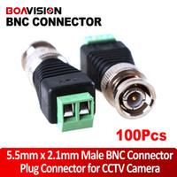 Wholesale Cctv Cat5 Balun Connector - 100PCS Mini Coax CAT5 Male BNC Connector To Camera CCTV BNC Video Balun Connector Adapter