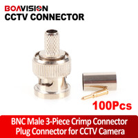 Wholesale Crimp Cable Connectors - BNC male crimp plug Connector RG59 coaxial cable BNC Connector BNC male 3-piece crimp connector plugs RG59 100PCS