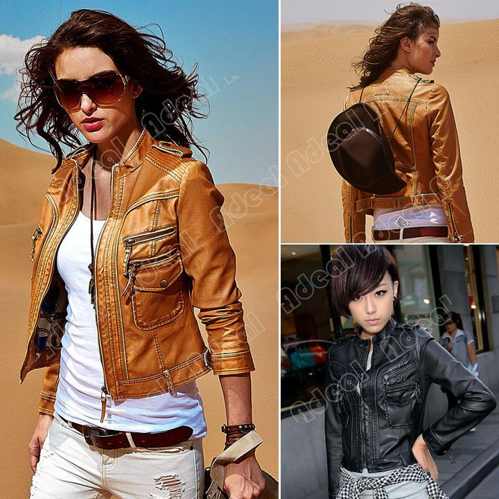 Motorcycle Faux Leather Jacket Women'S Jackets Ladies Coat ...
