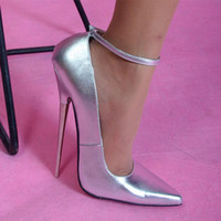 Wholesale Sex Dress High Heel - Wire 18cm ultra high heels high gloss surface with Silver fashion metal fine with boat Sex girl shoes fetish 2014 girls pumps